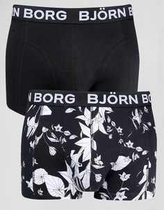 Боксеры-брифы с цветочным принтом (2 шт.) Bjorn Borg - Черный