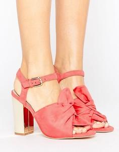 Сандалии на блочном каблуке с бантиком Lost Ink - Розовый