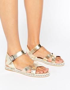 Золотистые сандалии-эспадрильи с перекрестными ремешками Glamorous - Золотой
