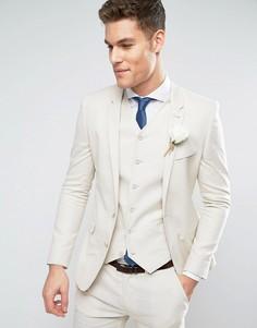 Бежевый супероблегающий пиджак с добавлением льна и хлопка ASOS WEDDING - Серый
