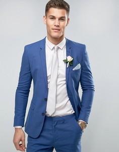 Голубой супероблегающий пиджак из смеси льна и хлопка ASOS WEDDING - Синий