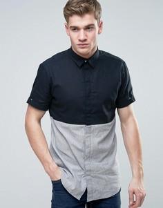 Рубашка классического кроя с короткими рукавами и контрастной вставкой Jack & Jones Core - Темно-синий