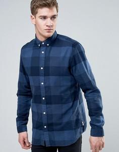 Узкая рубашка в клетку из ткани с добавлением хлопка Jack & Jones Originals - Темно-синий
