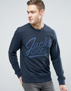 Свитшот с вышитым логотипом Jack & Jones Originals - Темно-синий