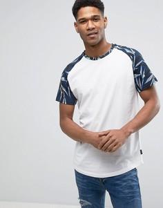 Длинная футболка с рукавами реглан с принтом Jack & Jones Originals - Кремовый