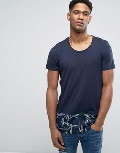Длинная футболка с контрастной закругленной вставкой снизу Jack & Jones Originals - Темно-синий