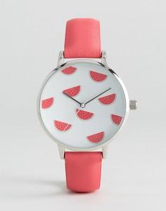 Часы с арбузами на циферблате и пастельно-розовым ремешком ASOS - Розовый