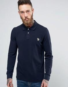 Темно-синее поло с длинными рукавами и логотипом PS by Paul Smith - Темно-синий
