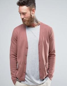 Розовато-лиловый хлопковый кардиган с карманами ASOS - Коричневый