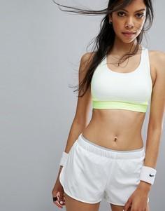 Бело-желтый поддерживающий спортивный бюстгальтер Nike Pro Hyper Classic - Белый