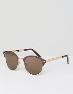 Коричневые круглые солнцезащитные очки с золотистой отделкой ASOS - Коричневый