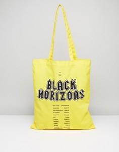 Желтая сумка-тоут с принтом Black Horizons ASOS - Желтый