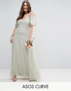 Платье макси с кейпом и кружевом ASOS CURVE WEDDING - Зеленый
