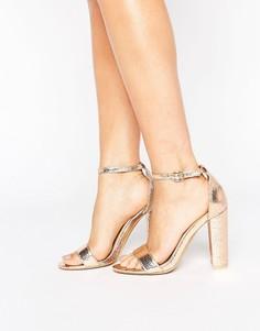 Босоножки цвета розового золота на блочном каблуке Glamorous - Золотой
