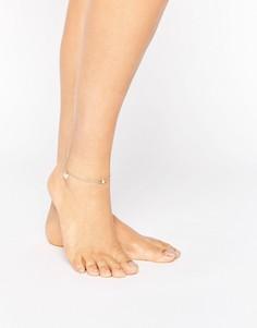 Браслет на ногу с подвеской-сердцем ASOS - Золотой