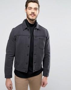 Черная джинсовая куртка с карманом ASOS - Черный