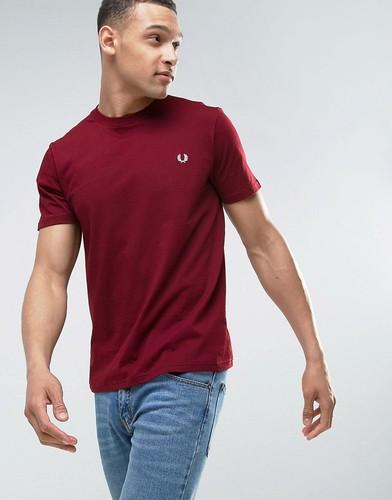 Бордовая футболка с маленьким логотипом Fred Perry - Красный