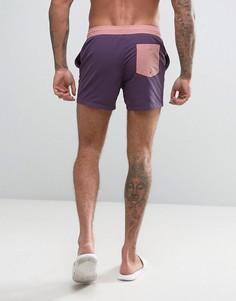 Короткие фиолетовые шорты для плавания с контрастным поясом ASOS - Фиолетовый