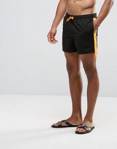 Короткие черные шорты для плавания с кантом по бокам ASOS - Черный