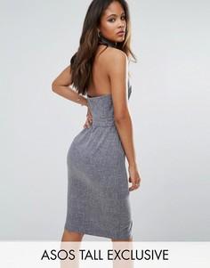 Свободное платье с открытой спиной и рубашечной отделкой ASOS TALL - Темно-синий