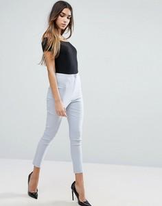 Облегающие брюки с завышенной талией ASOS - Серебряный