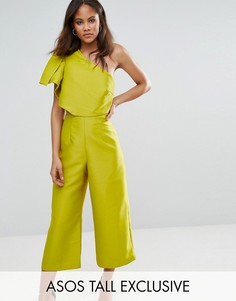 Комбинезон на одно плечо с юбкой-брюками ASOS TALL - Зеленый