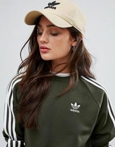 Бежевая кепка с логотипом adidas Originals - Зеленый