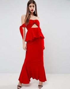 Платье макси с бантом и завязками ASOS Havana - Красный