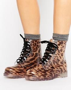 Резиновые ботинки со шнуровкой и леопардовым принтом Glamorous - Мульти