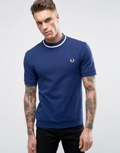 Темно-синяя футболка из пике с белой окантовкой Fred Perry REISSUES - Темно-синий