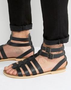 Черные кожаные гладиаторские сандалии Frank Wright - Черный