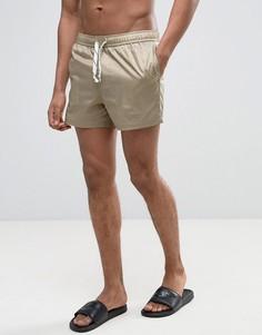 Короткие шорты для плавания из нейлонового рипстопа ASOS - Бежевый