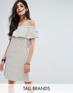 Платье мини в полоску с открытыми плечами Noisy May Tall - Мульти