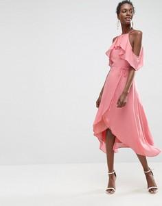 Платье миди с открытыми плечами и запахом ASOS - Розовый