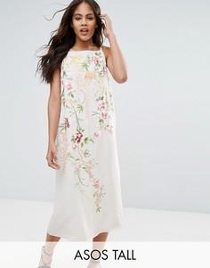 Платье-комбинация миди с вышивкой ASOS TALL - Мульти