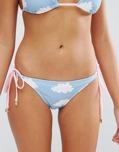 Плавки-бикини с принтом облаков Lazy Oaf - Синий