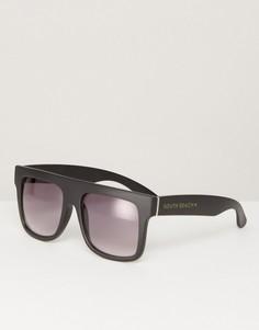 Солнцезащитные очки в стиле oversize с прямым верхом и градиентными стеклами South Beach - Черный