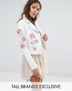 Байкерская куртка с заклепками и вышивкой Glamorous Tall - Мульти