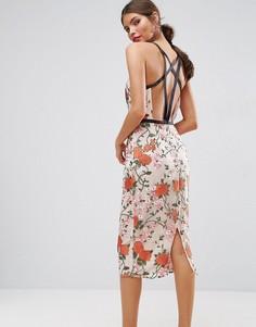 Платье миди с цветочной вышивкой и контрастными бретелями ASOS SALON - Мульти