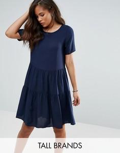 Ярусное свободное платье с оборкой Vero Moda Tall - Темно-синий