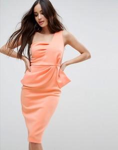 Платье миди на одно плечо с баской ASOS - Розовый