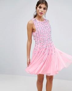 Розовое приталенное платье мини со свободной юбкой и цветочной отделкой ASOS SALON - Розовый