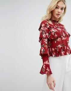 Блузка с оборками и цветочным принтом Missguided - Красный
