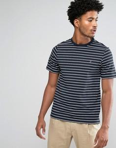 Темно-синяя узкая футболка в тонкую полоску Farah Kimmeridge - Темно-синий