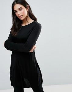 Короткое приталенное трикотажное платье с длинными рукавами Dex - Черный