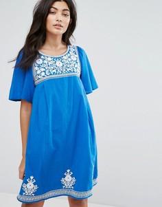 Платье с цветочной вышивкой YMC - Синий