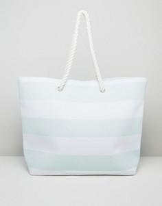 Пляжная сумка в выбеленно-голубую полоску South Beach - Синий