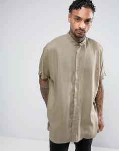 Oversize-рубашка цвета хаки из вискозы с заниженной линий плеч ASOS - Зеленый