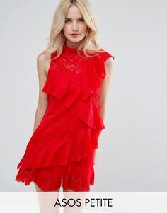 Кружевное платье мини с оборками ASOS PETITE - Красный