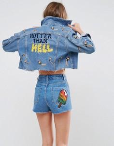 Джинсовая куртка с вышивкой ASOS X LOT STOCK & BARREL - Синий